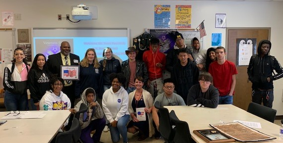 Mr. Terry Reynolds visits Mrs. Wais' English 10 students on Veterans Day 2019